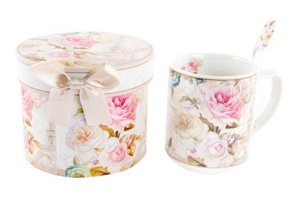 Taza set cuchara caja reg. porcelana rosa