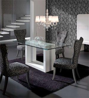 Mesas de comedor moderna de vidrio google search glam - Mesa de comedor cristal ...
