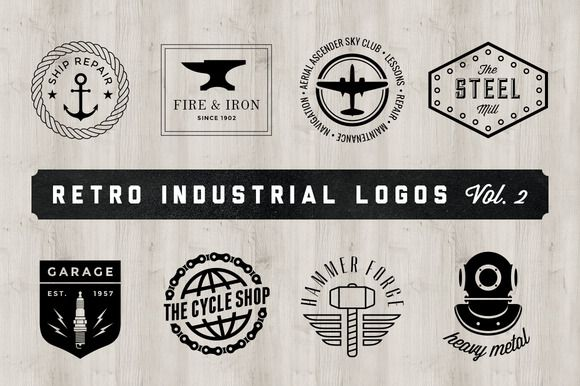 Check out Retro Industrial Logos - Volume 2 by Adrian Pelletier on ...