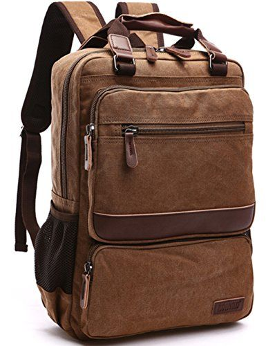 9676960896fa Aidonger Vintage Canvas School bag Laptop Backpack (Coffee)