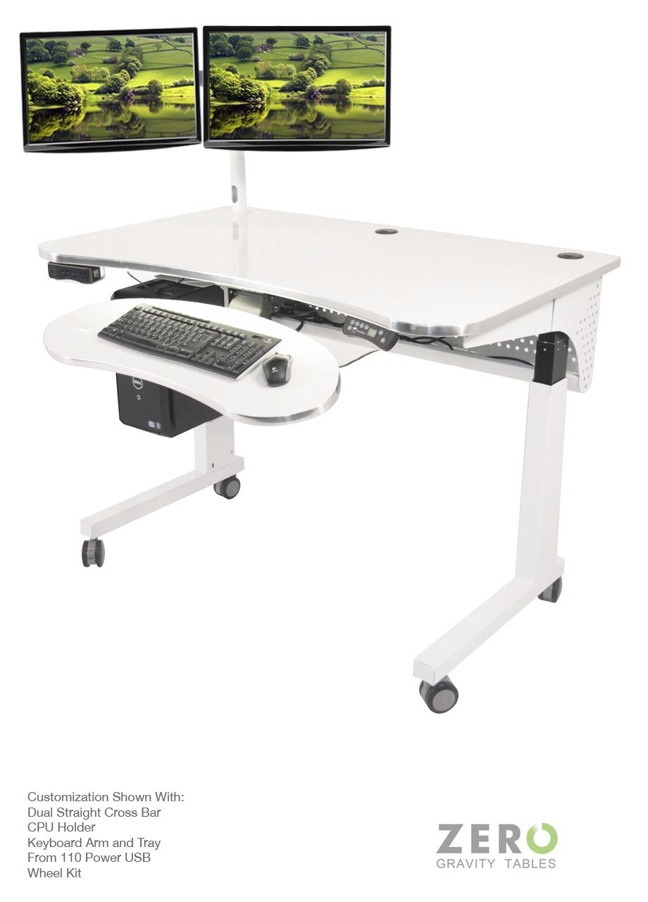 The Zero Gravity Table Shown with Dual Straight Cross Bar, Front 110 Power USB, Wheel Kit, CPU Holder, Keyboard Arm and Tray.  We offer the best choice for standing desks. Our elevated desk and table work stations are customizable with a range of colors options. Our attention to detail with a front USB power ports make our office furniture functional.   All of our computer monitor racks are easily mounted onto any single standard Zero Gravity Tables surface grommet hole, this dual monitor…