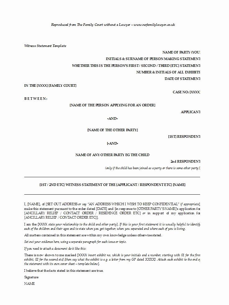 A Written Statement Fresh 50 Professional Witness Statement Forms Templates Statement Template Business Template Personal Mission Statement