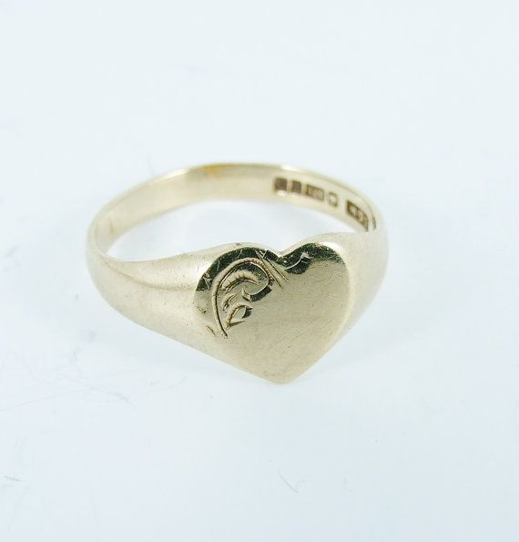 Vintage 9ct Gold Heart Signet Ring Size 5 1 2 K 1 2 Etsy Signet Ring Jewelry Rings Engagement Ring Size
