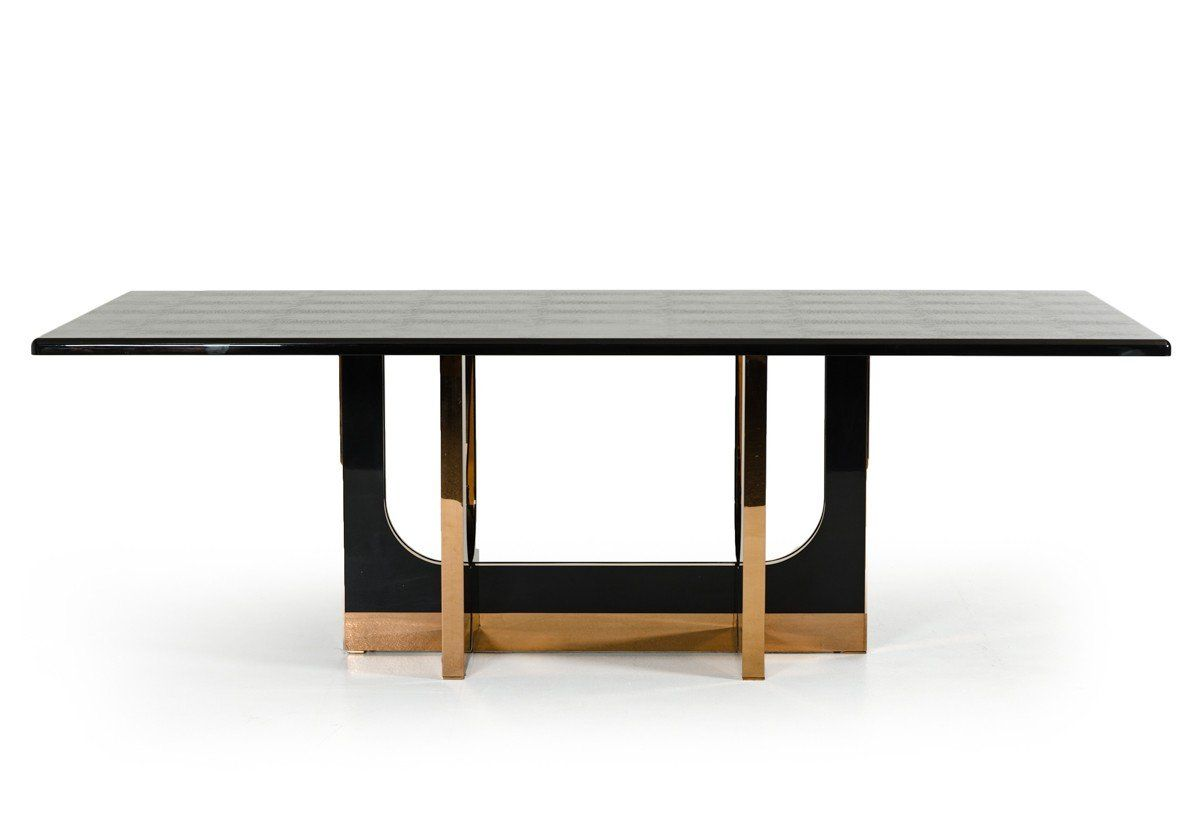 A X Padua Large Black Crocodile Rosegold Dining Table Dining
