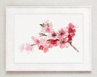 Pintura de flor de cerezo rosa arte de impresi n juego - Pinturas para el hogar ...