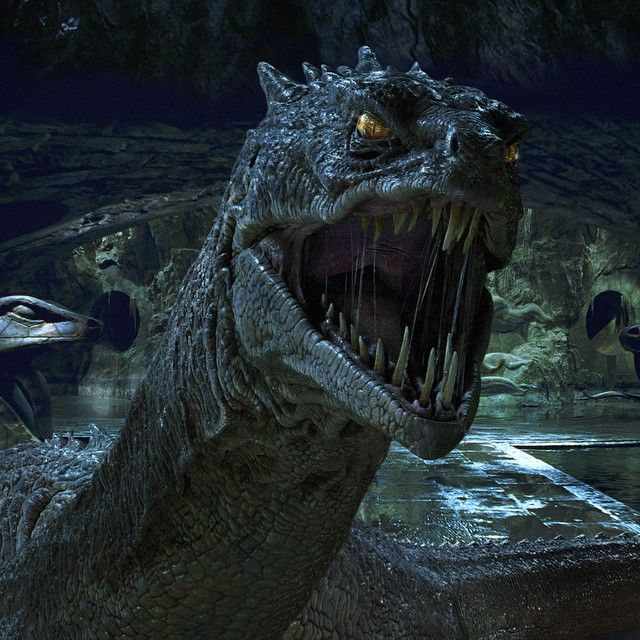 "For ""Harry Potter and the Chamber of Secrets"", Nick Dudman and the creature effects department built a twenty-five-foot-long, one-and-a-half-ton animatronic Basilisk so that Daniel Radcliffe could truly interact with the terrifying creature. #HarryPotter"