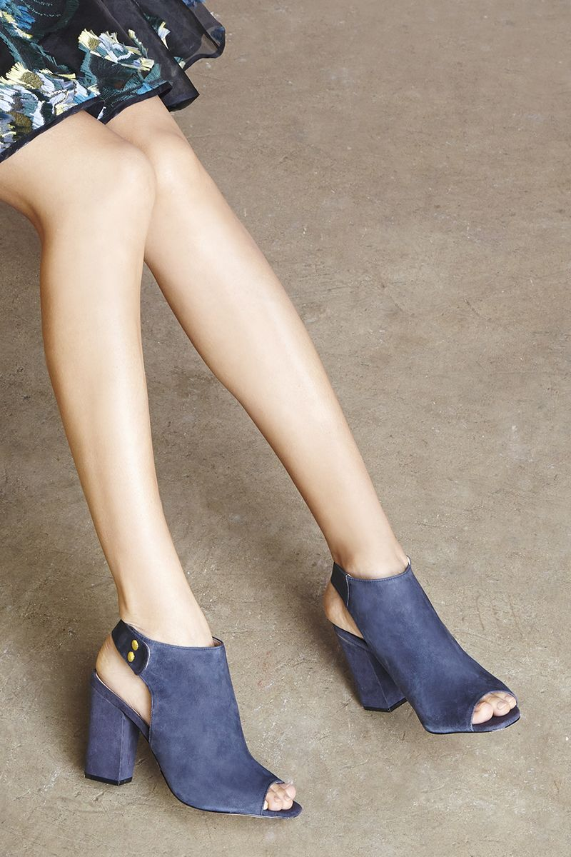 Navy suede peep toe booties | Sole Society Easton