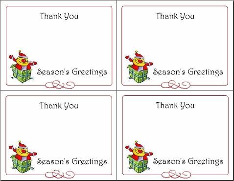 Free Printable Christmas Thank You Cards From Teacher Quick - printable thank you note