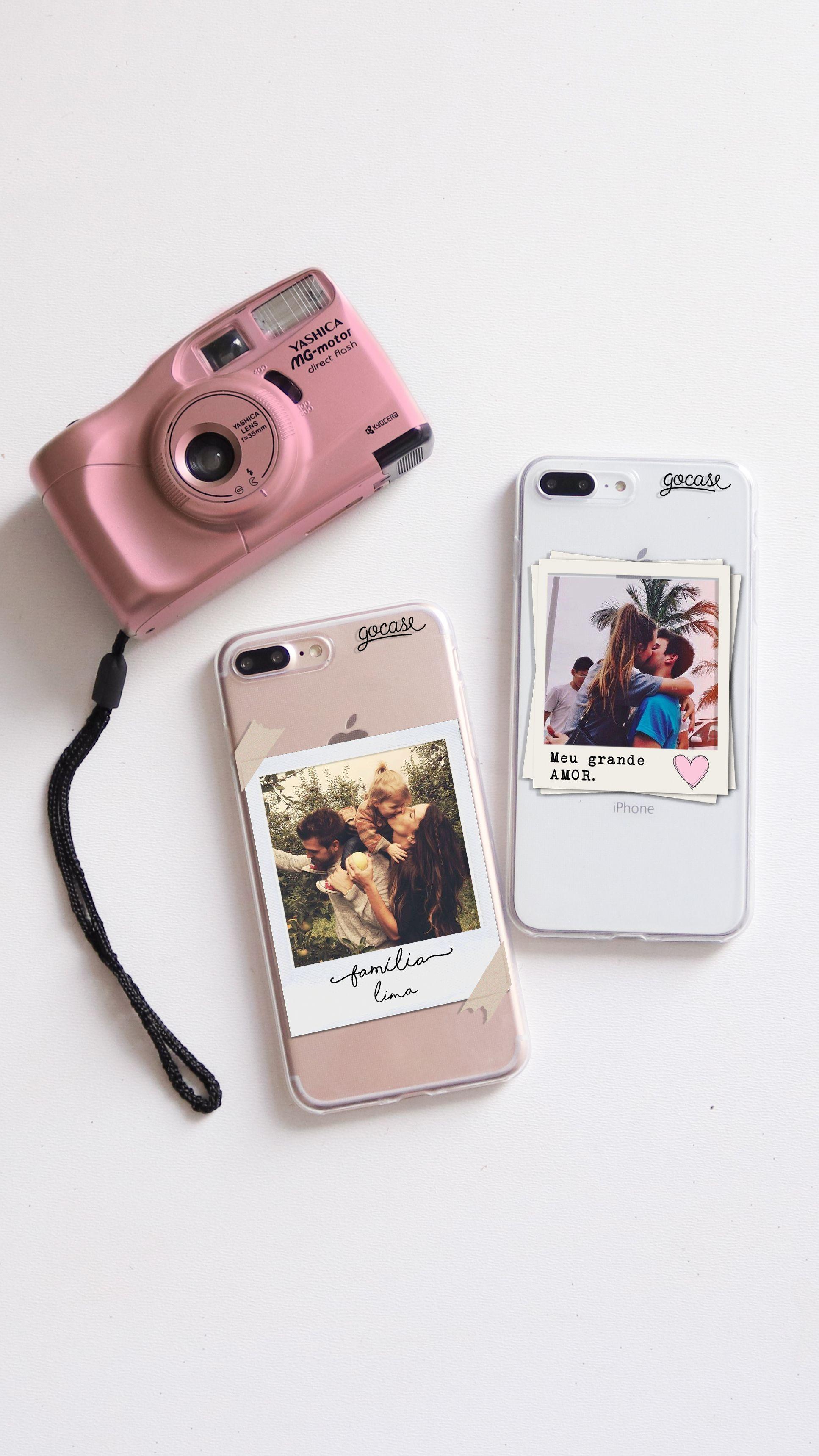 Capinhas para celular Picture - Família e Picture - Meu Grande Amor com câmera fotográfica rosa retrô.