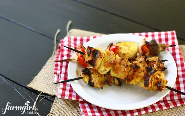 Grilled Honey Mustard Chicken Kebabs - a farmgirl's dabbles - these are calling my name for dinner!