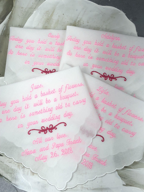 Flower girl and ring bearer wedding handkerchief gift