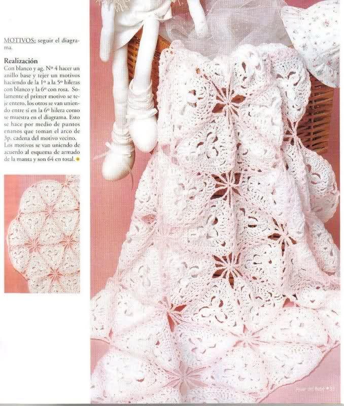 Patrones de mantitas para beb s tejidas a crochet para - Patrones de mantas a crochet ...
