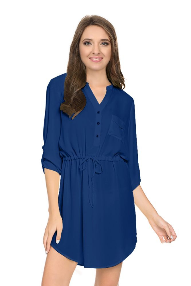 Womens Casual Summer Drawstring Belted Adjustable Sleeve Shirt Dress with Pocket