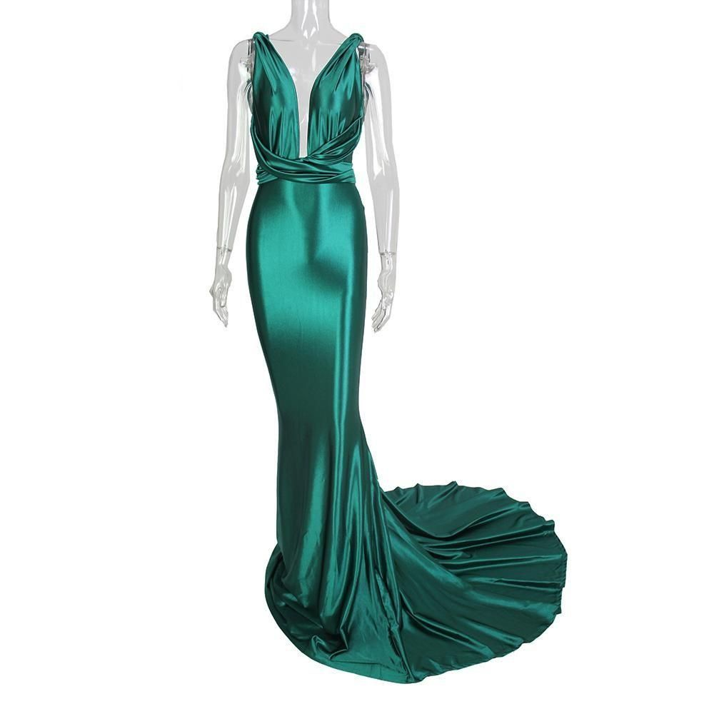 Womens Fashion Backless Bodycon Mermaid V Neck Floor Length ...