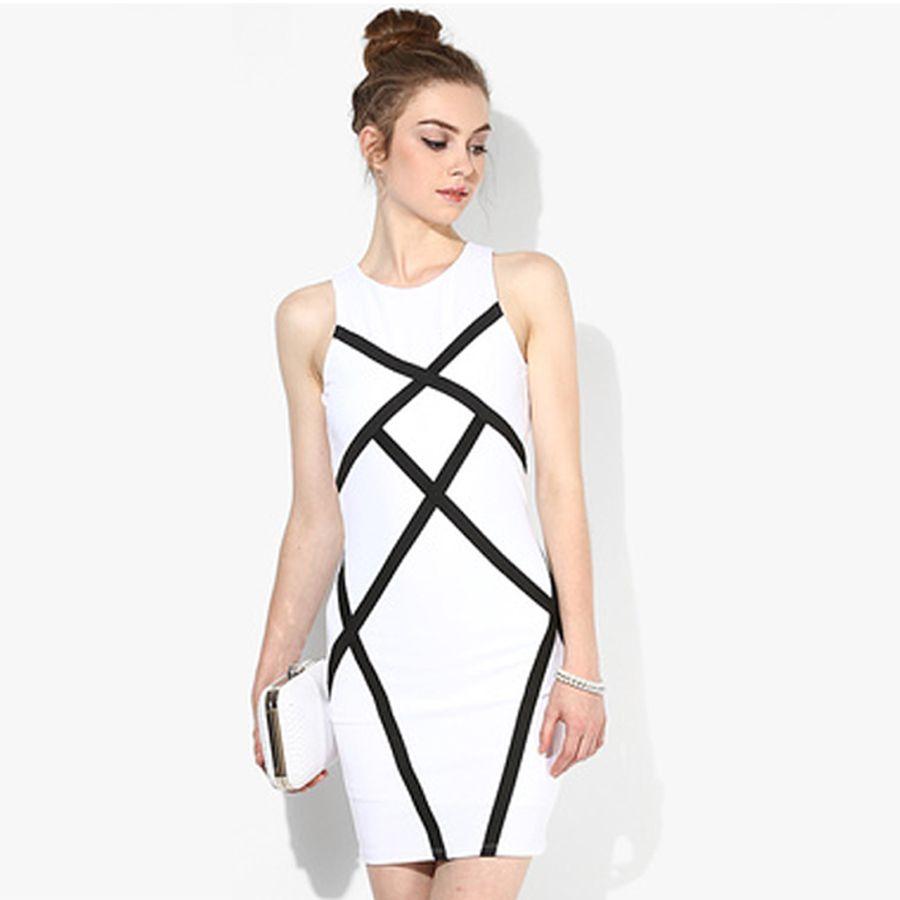 BEFORW Summer Women Sexy Sleeveless Solid Color Stripe Round Neck Plus Size Dress  Fashion Casual Slim 8d7da5708