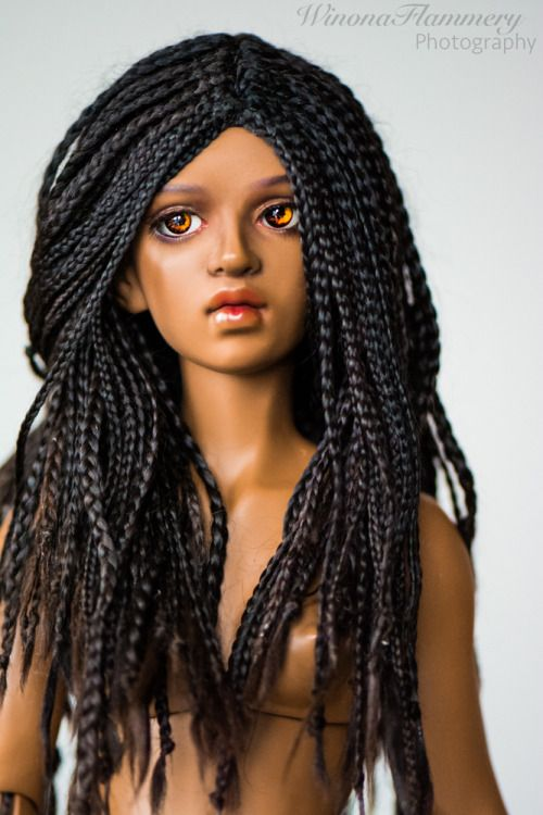 "winonaflammery:  "" I took out Nivah's larger braids, and her microbraids were all curled at the ends :D I think she kinda looks like she just woke up.  Wig: Me  Eyes: Dollbakery 10mm pancakes  """
