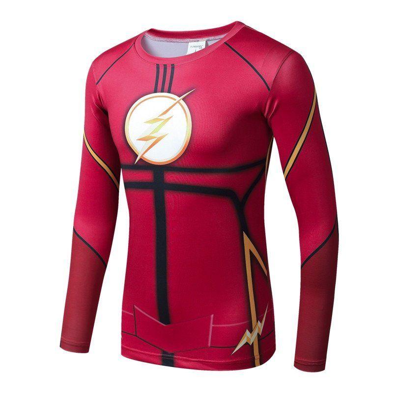 Flash+Superhero+Compressed+Long+Sleeve+Shirt+Marvel+DC+SALE+-RED