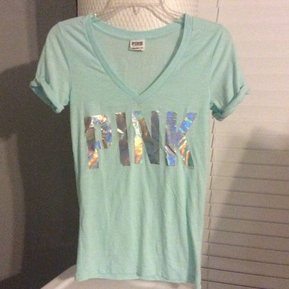 VS PINK Tee Aqua in color. With metallic letters. Great condition except for the tiniest little hole in the underarm. Completely unnoticeable. Super soft! Victoria's Secret Tops Tees - Short Sleeve