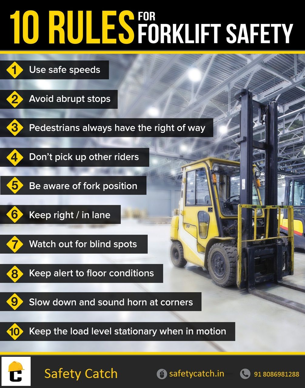 Forklift Safety tips for safety workers. Health and