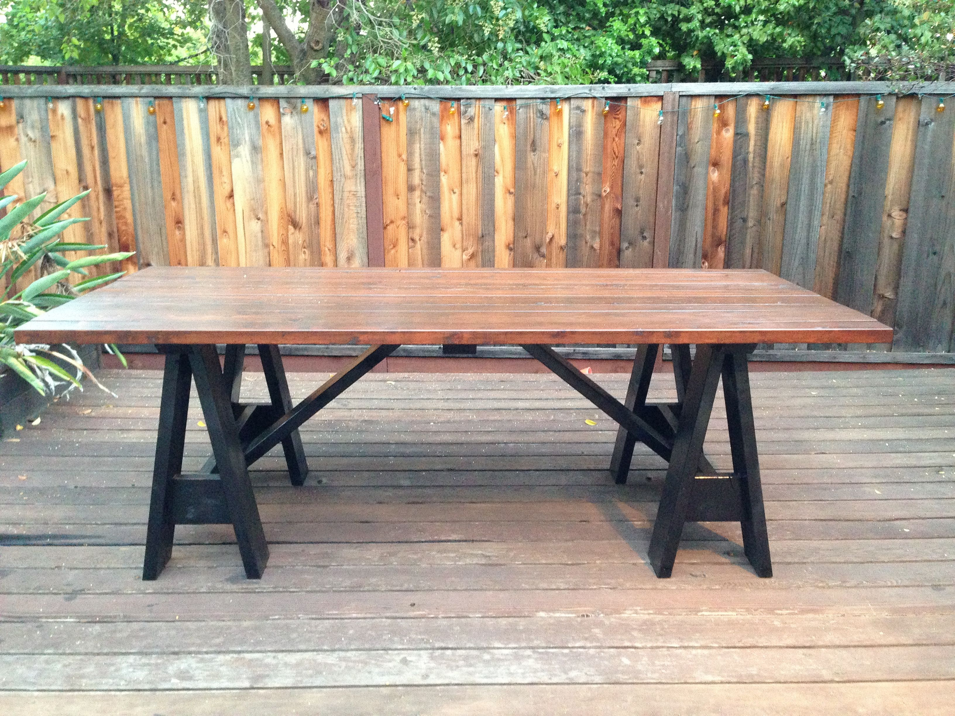 Sawhorse outdoor table by my lyon men do it yourself home projects sawhorse outdoor table by my lyon men do it yourself home projects from ana white solutioingenieria Image collections