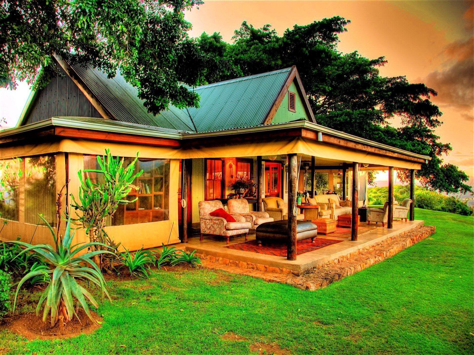 Man made house caribbean tropical porch wallpaper