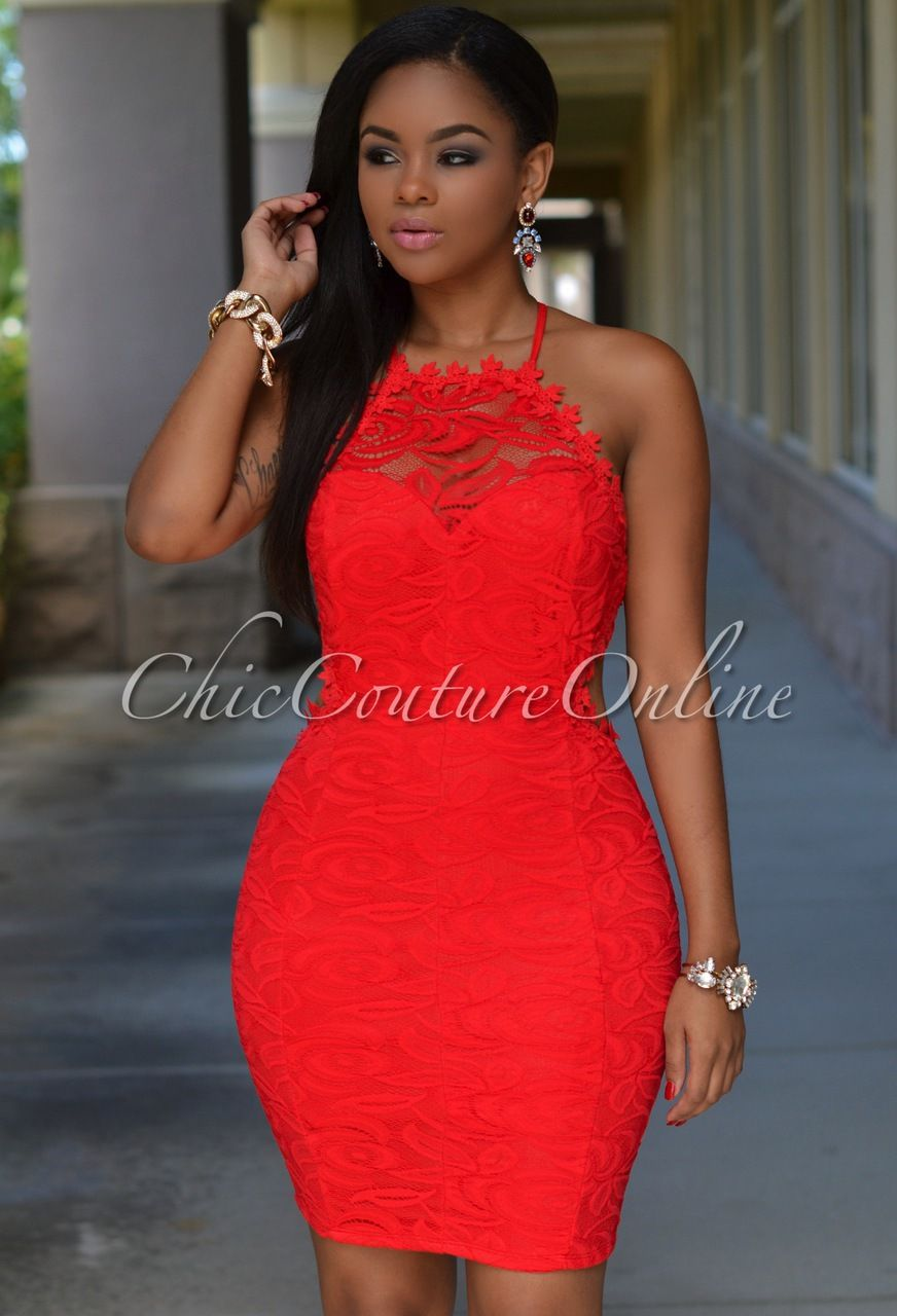 Chic Couture Online - Sierra Red Lace Daring Back Dress, (http://www ...