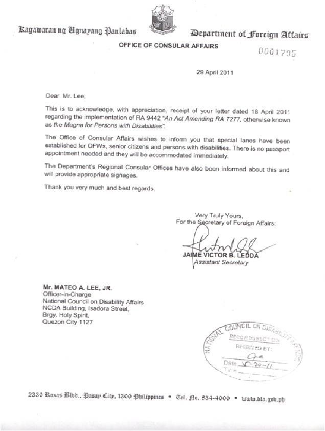 dfa letter national council disability affairs authorization - passport consent forms