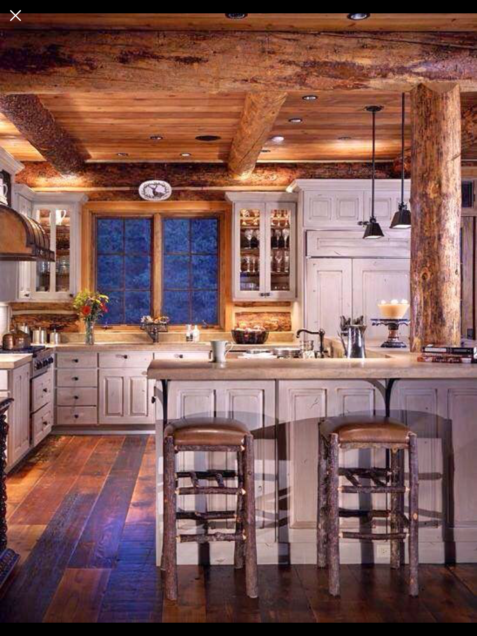 Pin By Calvin Krusick On Kitchen Ideas Log Home Kitchens Rustic