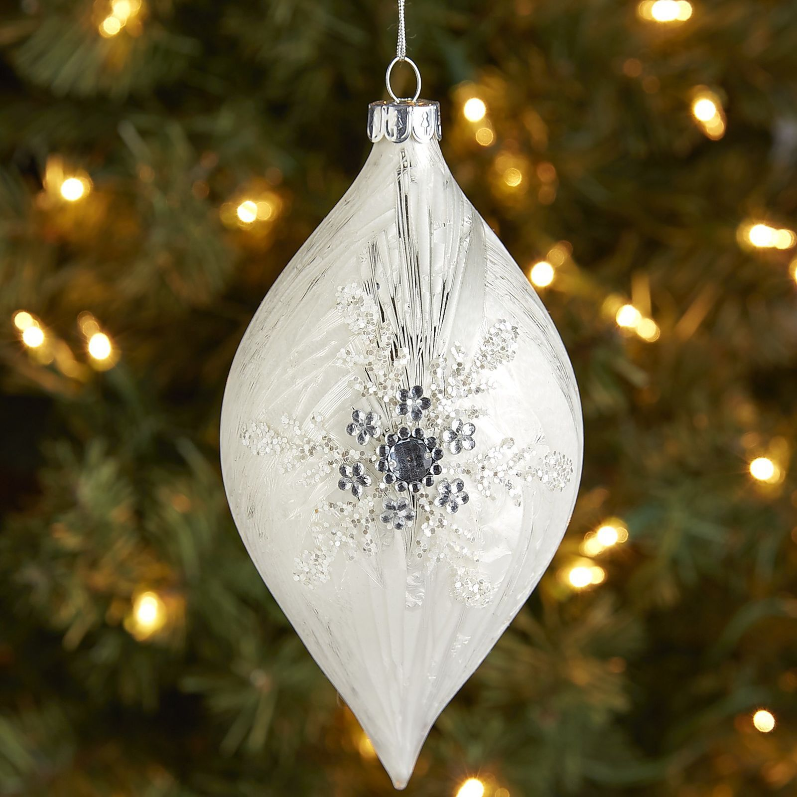 Ice Snowflake Glass Drop Ornament  Pier 1 Imports  Christmas Ornaments   Pinterest  Ornament, Christmas Ornament And White Christmas Ornaments