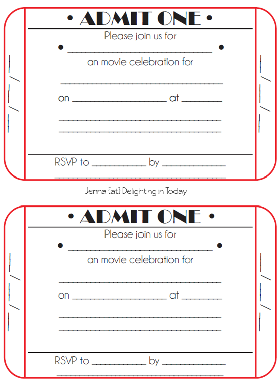 For Rachels 7th birthday party kid projects – Printable Ticket Invitations