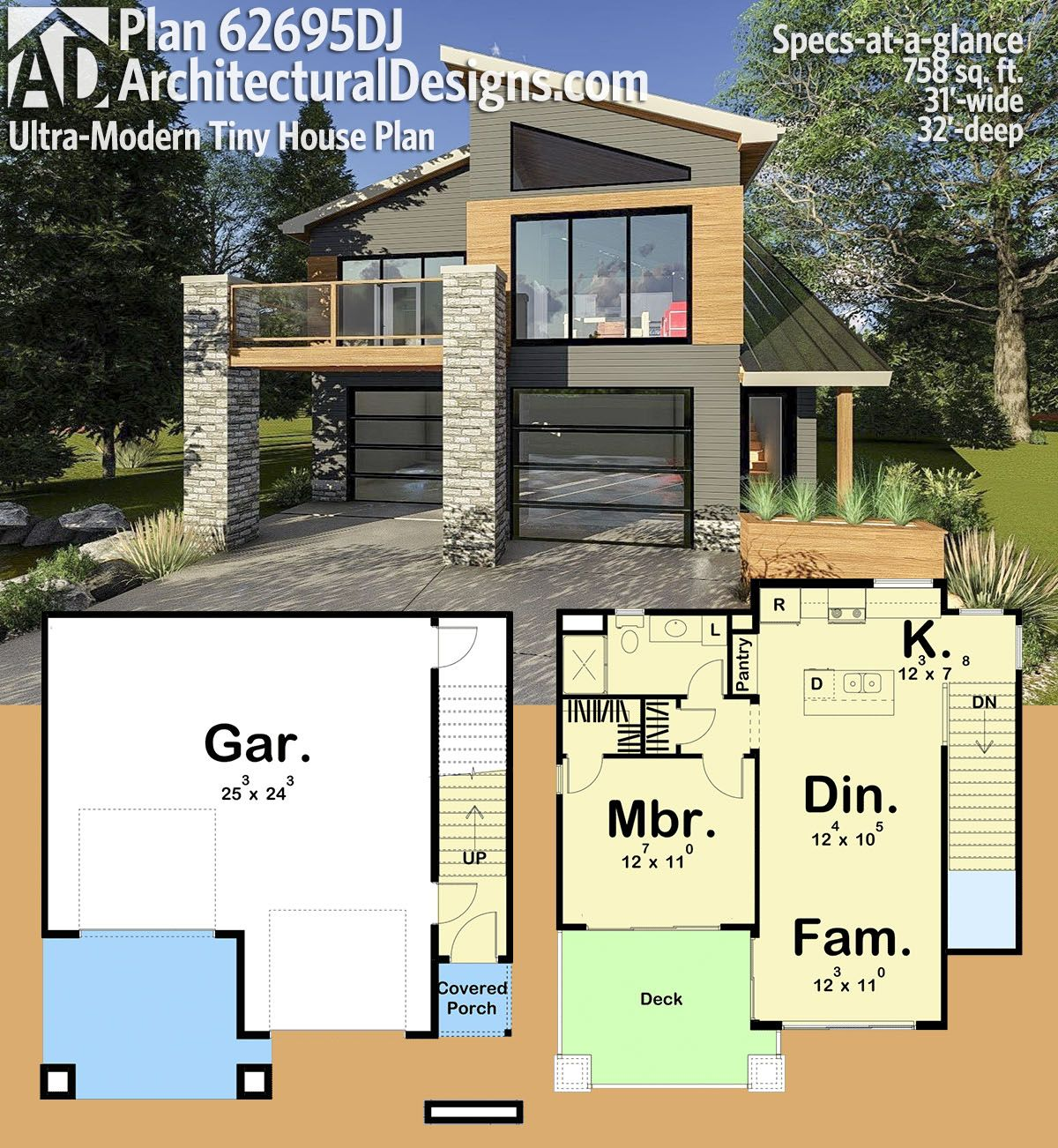 Architectural Designs Carriage House Plan 14631rk Gives: Plan 62695DJ: Ultra-Modern Tiny House Plan In 2019