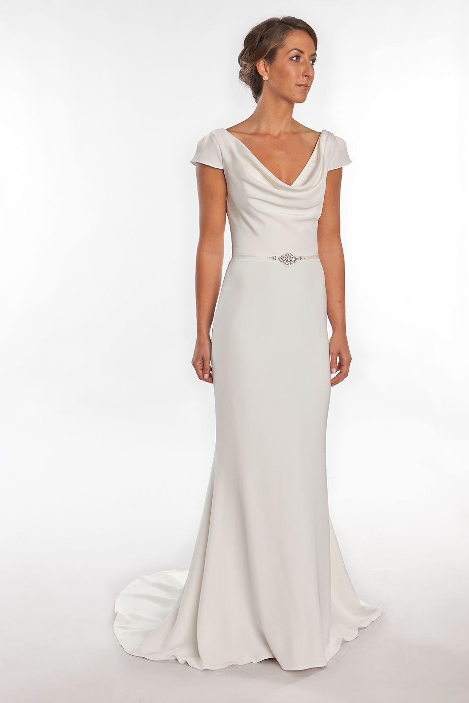 Charlotte cowl neck wedding dress with cap sleeves by for Satin cowl neck wedding dress