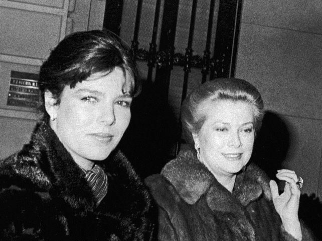 January 01, 1980 Princess Caroline of Monaco (L) w. her mother Princess Grace.