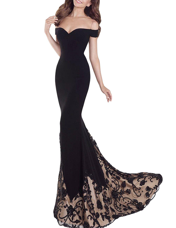 Womenus prom dresses black lace appliqued prom dress dresses
