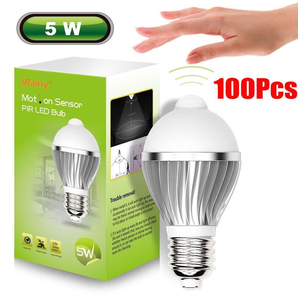 100pcs E27 5w Led Infrared Motion Detection Light Sensor Pir Bulb Warm White Irainy