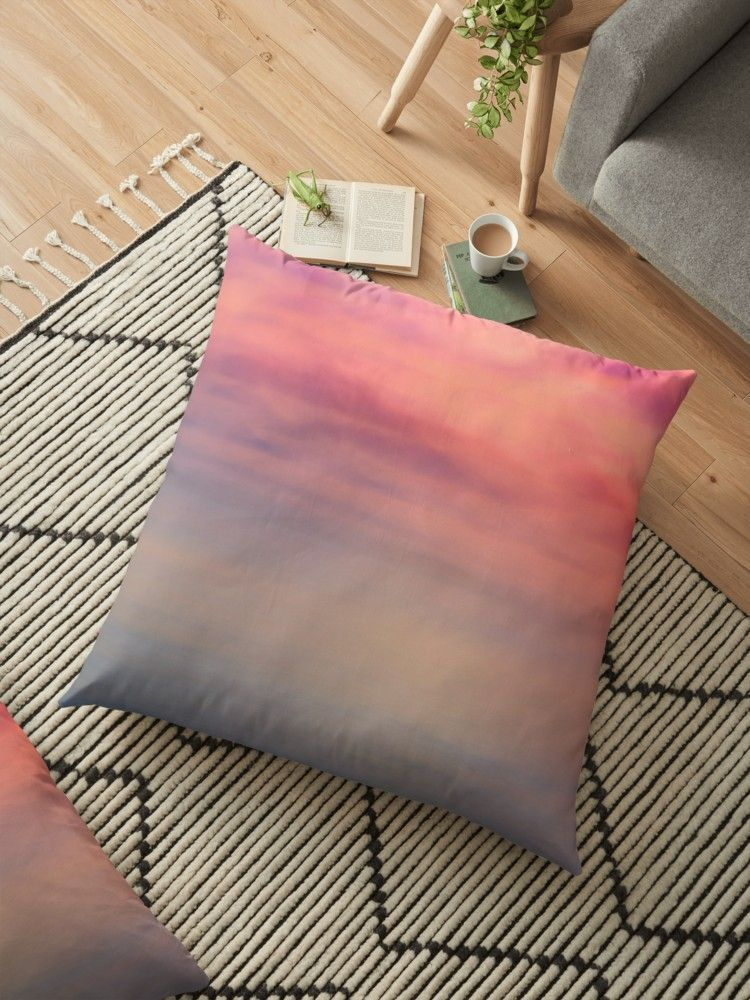 Pink Sunrise Over the Sea Abstract Long Exposure\' Floor Pillow by ...