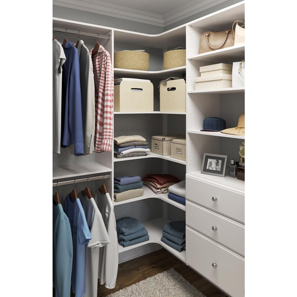 Closet Evolution 30 In W White Corner Wood Closet System Wh31 The Home Depot In 2020 Closet Renovation Closet Layout Closet Remodel