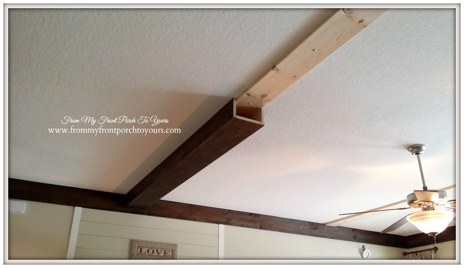 How we made our diy wood beams stains on the side and for Fake wood beams for ceiling