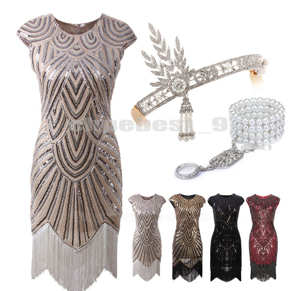 8335c4451dd 1920s Flapper Dresses Great Gatsby Sequin Beaded Fringe Dress Art Deco Plus  Size in Clothes