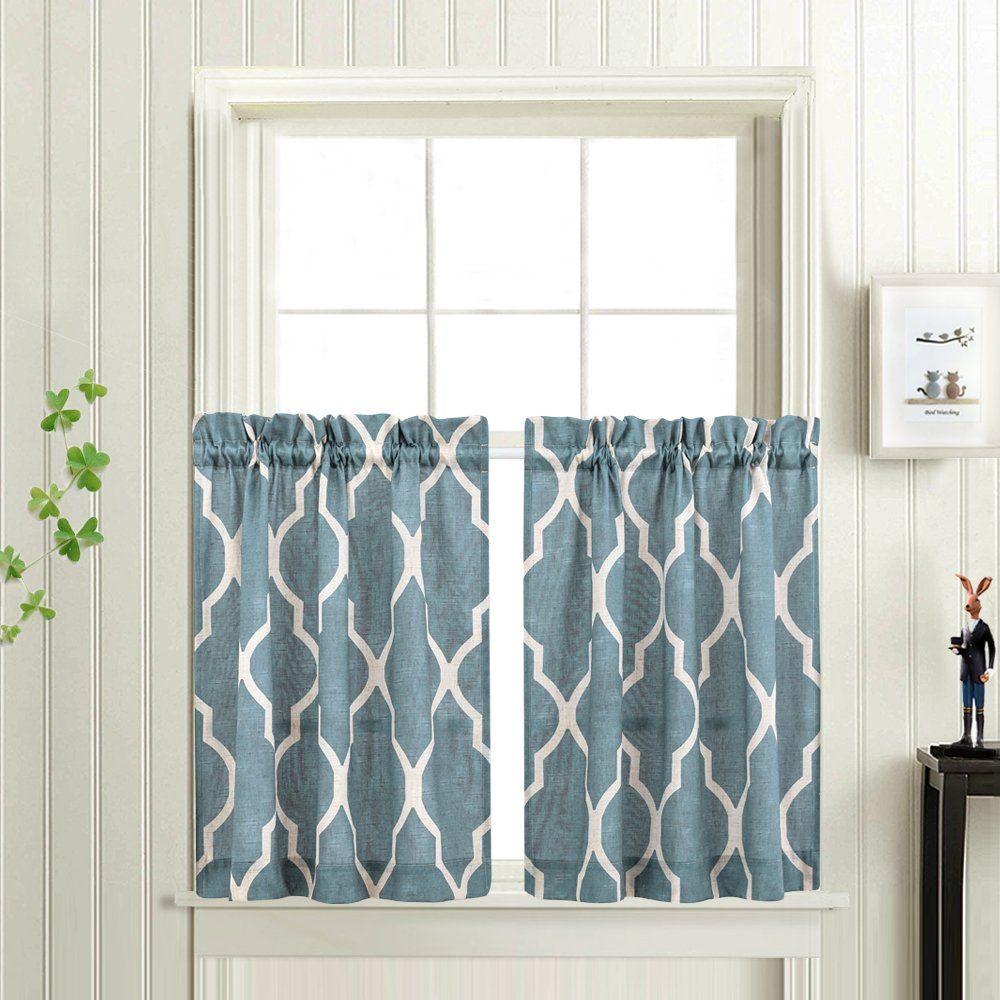 Moroccan Tile Printed Tier Curtains for Kitchen Modern Café Half ...