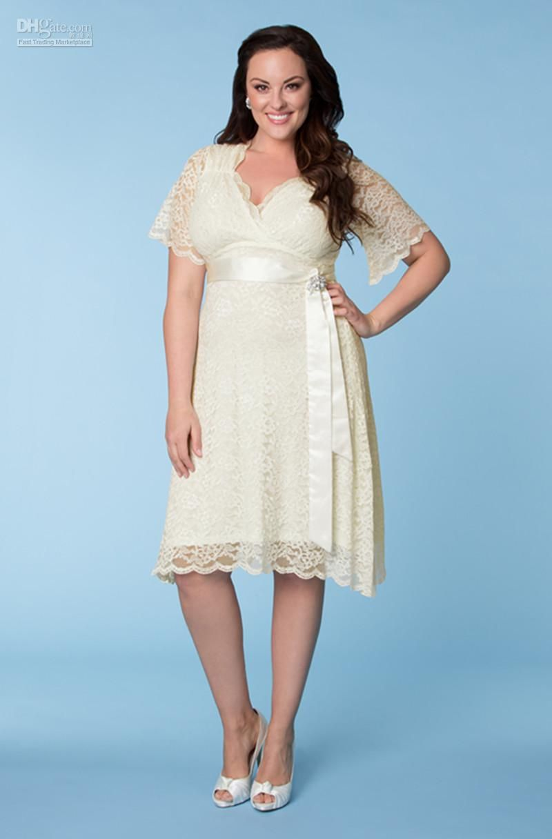 Wholesale plus size special occasion dresses buy best selling best selling hottest ivory plus size lace sash a line v neck short sleeves knee length party prom dresses evening gown maternity dressesprom dressesspecial ombrellifo Choice Image