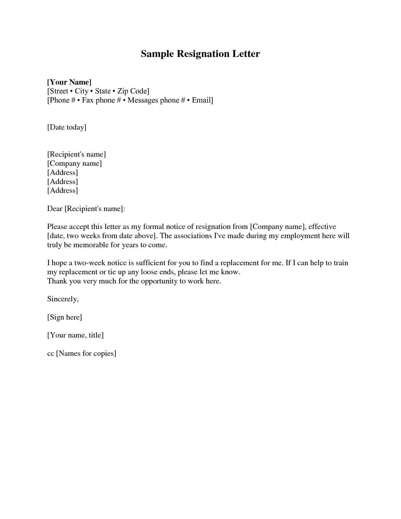 two weeks notice formal letter
