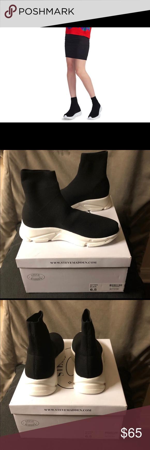 5af94c2d480 Steve Madden Women's Bitten Black Sneakers With a sock-like knit ...
