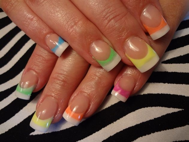 Neon And White By Dcgroves Nail Art Gallery Nailartgallery