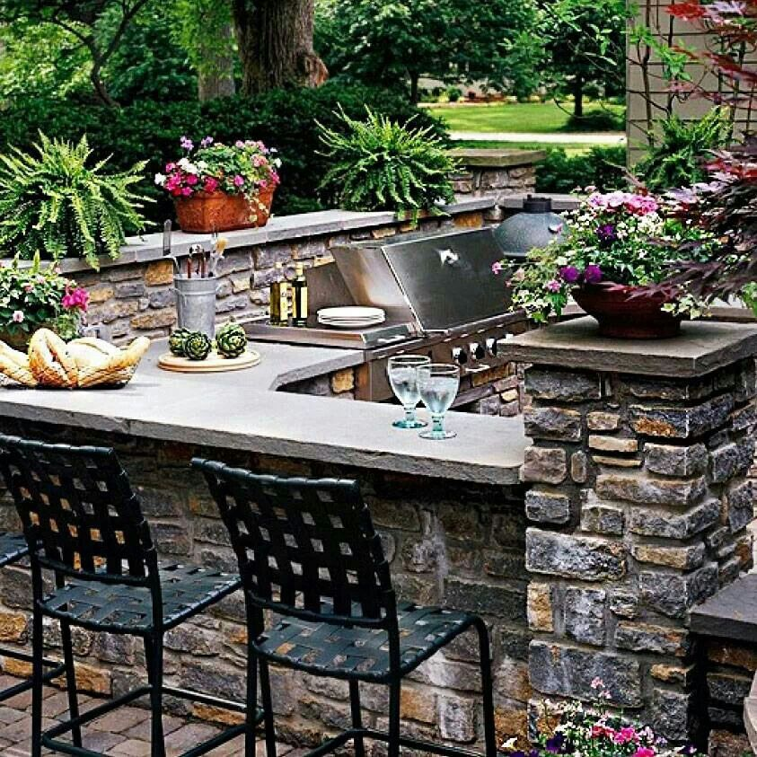 Patio idea I wish Dream houses Pinterest Idées - Cuisine D Ete Exterieure En Pierre
