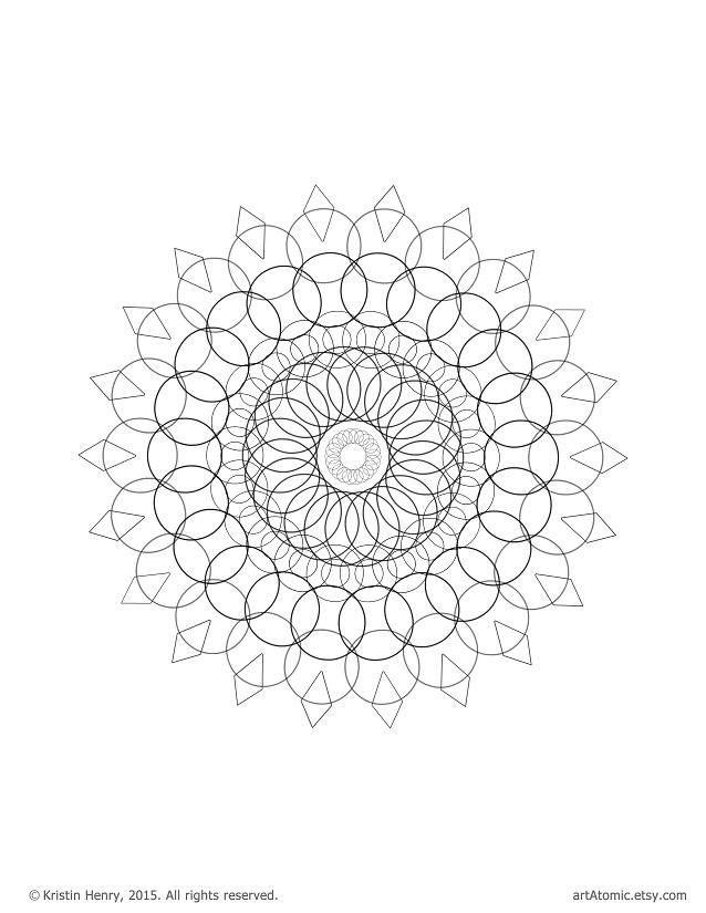 Downloadable Adult Coloring Page: Generative Mandala. Math