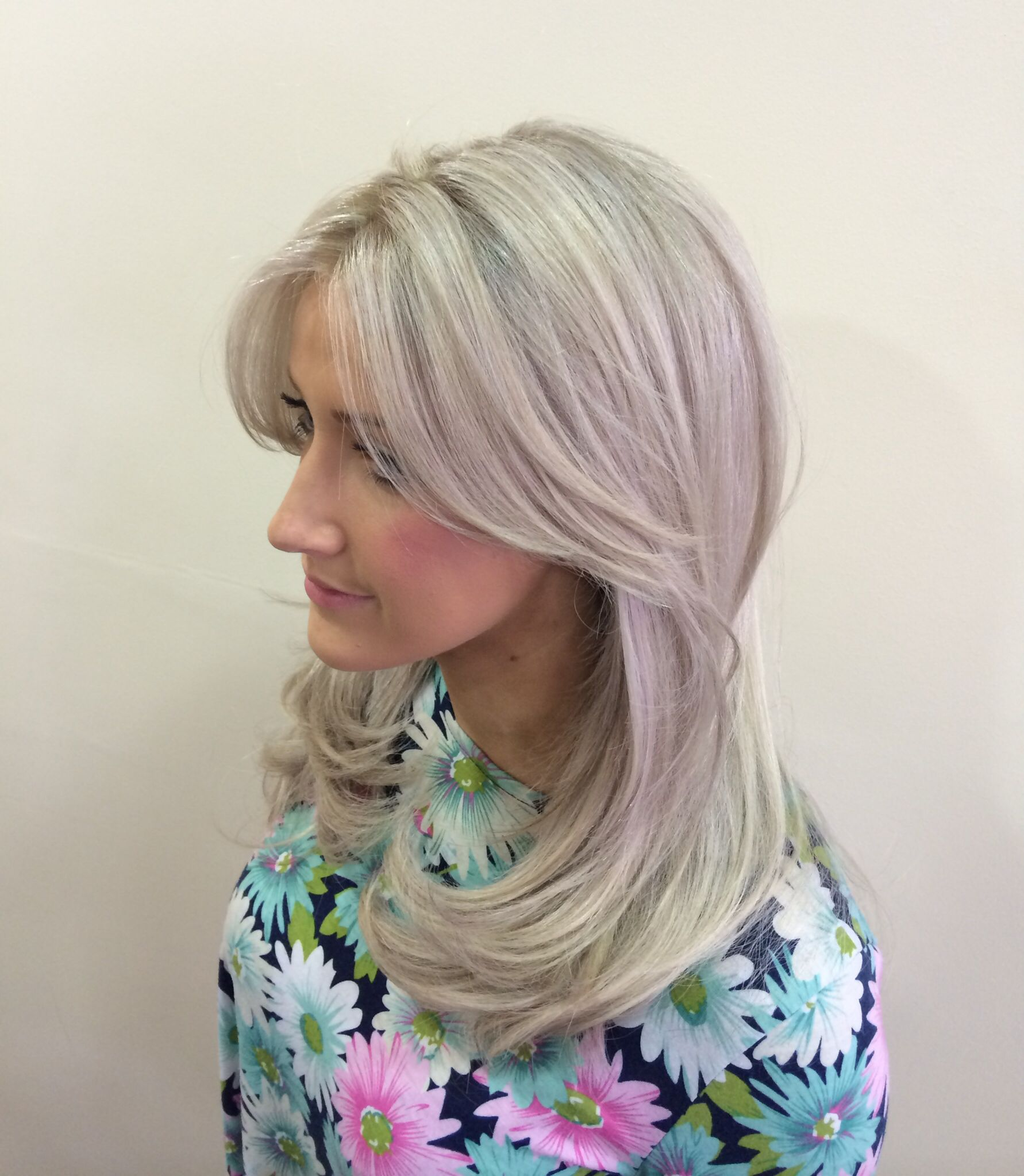 Platinum Blonde Highlights With Grey Ash Toner Colour Wella