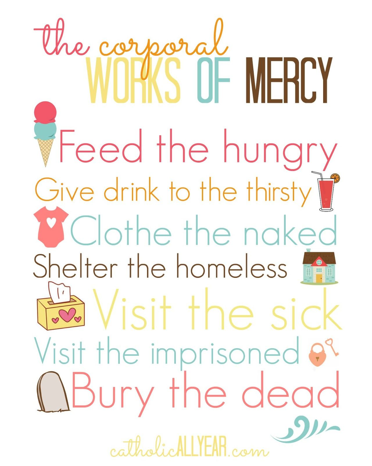 worksheet Corporal And Spiritual Works Of Mercy Worksheet living the year of mercy in and out catholic home elizabeth