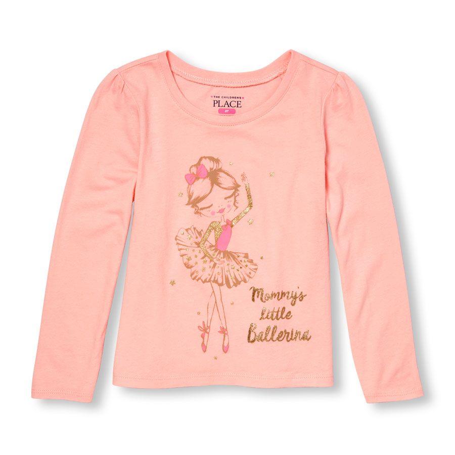 762b3432 Toddler Girls Long Sleeve Glitter 'Mommy's Little Ballerina' Graphic Tee
