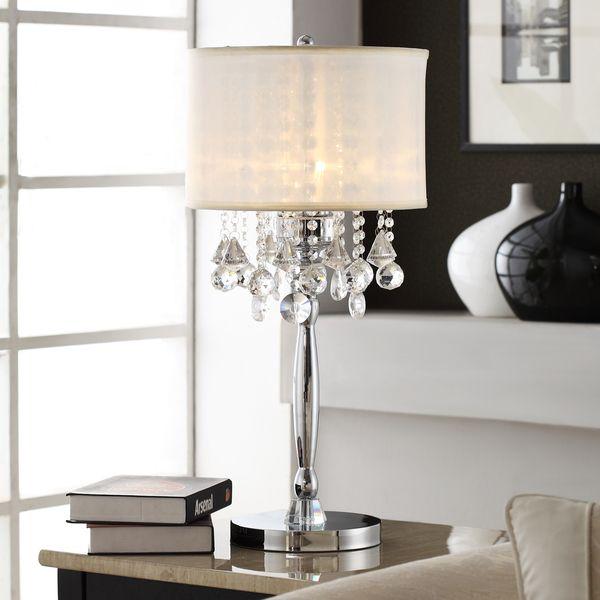 TRIBECCA HOME Silver Mist 3-light Crystal Chrome Table Lamp ...